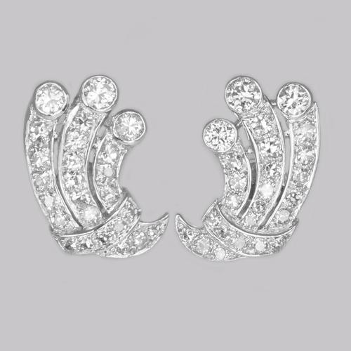 Art Deco 1.80ct Diamond Earrings 18ct White Gold Antique Earrings with Post Fittings Circa 1920 (1 of 8)