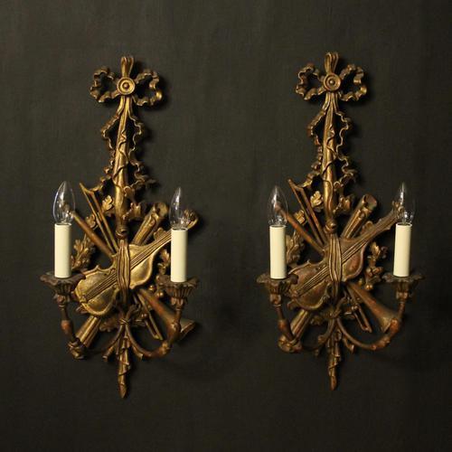 Italian Giltwood Pair of Twin Arm Wall Lights (1 of 10)