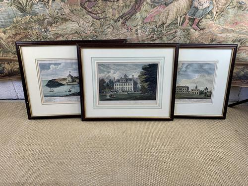 Set of Three Colourised Engravings of Country House Scenes (1 of 5)