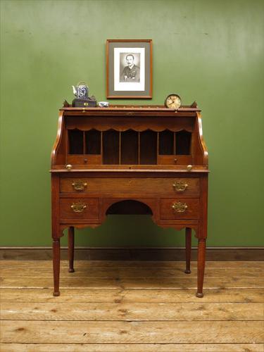 Antique Oak Roll Top Writing Desk, Tambour Front Bureau Desk (1 of 20)