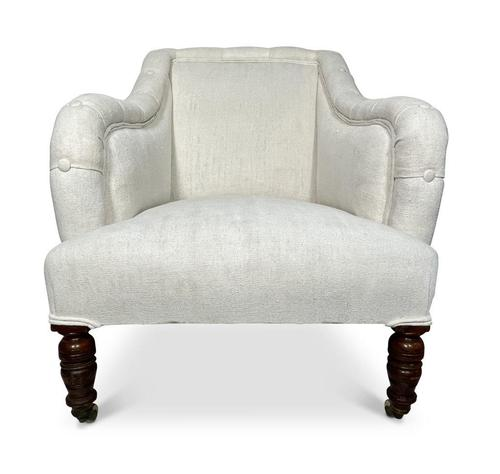 Victorian Armchair Upholstered in Antique French Hemp Linen (1 of 5)