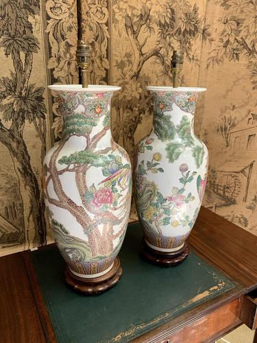 Pair of Early 20th Century Chinese Painted Lamps (1 of 5)