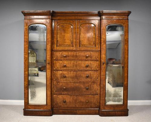 19th Century Victorian Inverted Breakfront Burr Walnut Wardrobe (1 of 10)