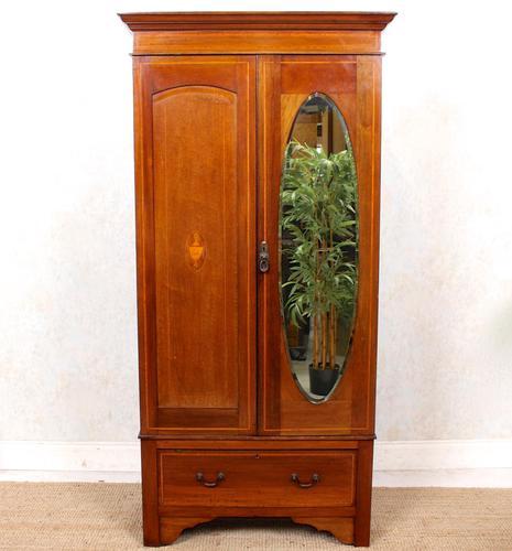 Edwardian Wardrobe Inlaid Mahogany Mirrored (1 of 10)