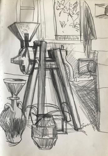 Original pencil drawing 'The olive press' by Toby Horne Shepherd 1909-1993 Signed c.1965 (1 of 1)