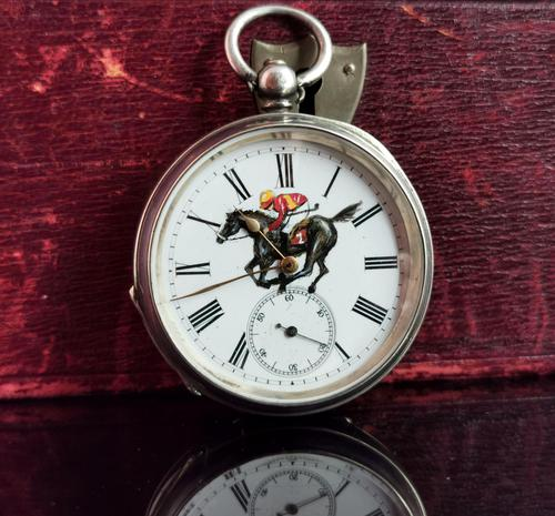Victorian Silver Pocket Watch, Enamelled, Horse Racing (1 of 10)