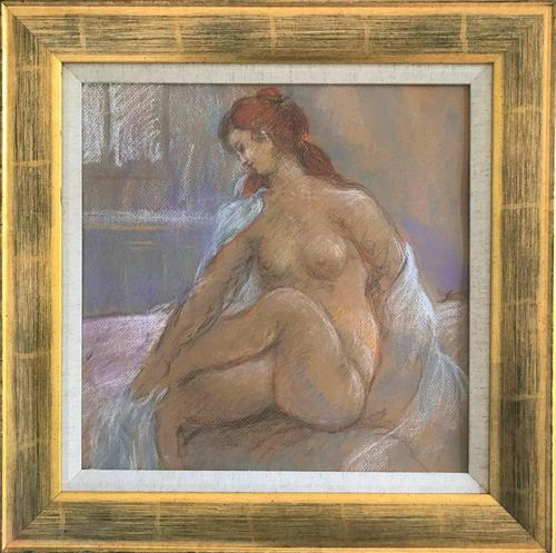 Original pastel 'Seated nude' by Dennis Gilbert NEAC. B.1922. From a studio collection (1 of 2)