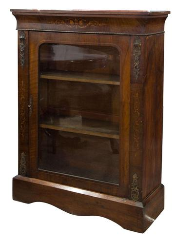 Victorian Walnut & Marquetry Inlaid Side Cabinet (1 of 6)