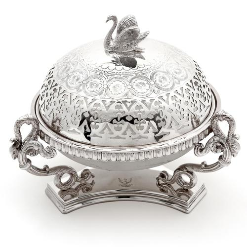 Victorian Silver Plated Butter Preserve Dish with Opeline Glass Liner (1 of 6)