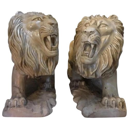 Pair Fine Early 20th Century Art Deco Italian Marble Male & Female Rampant Lions Sculptures (1 of 11)