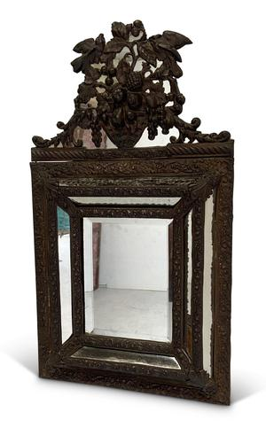 Repousse Brass Cushion Mirror (1 of 4)