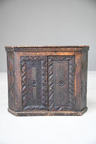Grained Carved Rustic Hanging Cupboard (1 of 12)