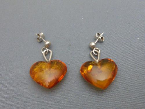 Pair Of Silver And Amber Heart Earrings (1 of 4)