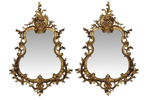 Rare Pair of 19th Century Pier Giltwood Mirrors in the Rococo Manner (1 of 4)