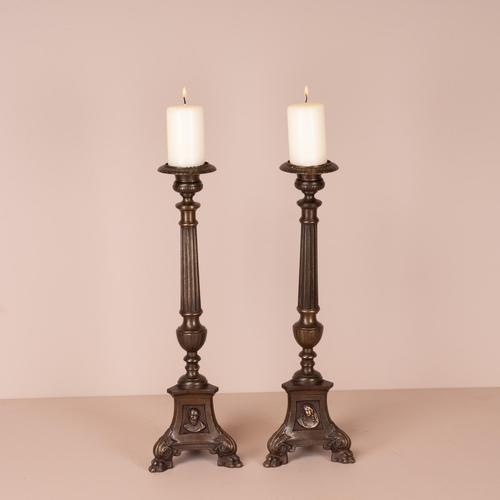 Pair Of Brass Pricket Candlesticks (1 of 8)