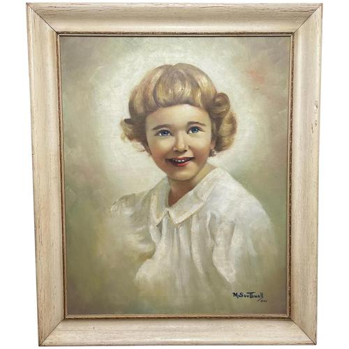 """20th Century Oil Painting Portrait Girl With Curly Hair """"The Happy Smile"""" (1 of 19)"""