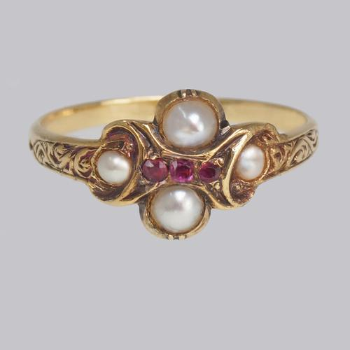 Georgian Ruby & Split Pearl Ring Antique 15ct Gold Ornate Cluster Ring ca 1820 (1 of 7)