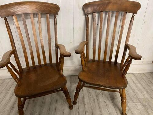 Pair of Edwardian Farmhouse Fireside Chairs (1 of 4)