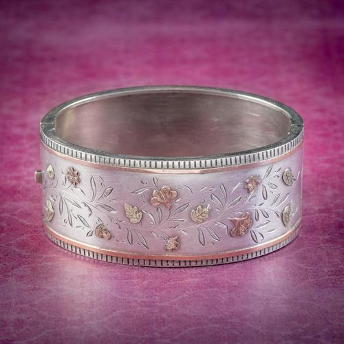 Antique Victorian Floral Cuff Bangle Silver Gold c.1890 (1 of 6)