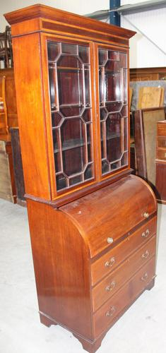 1900's Large Mahogany Cylinder Bureau Bookcase with Key (1 of 6)
