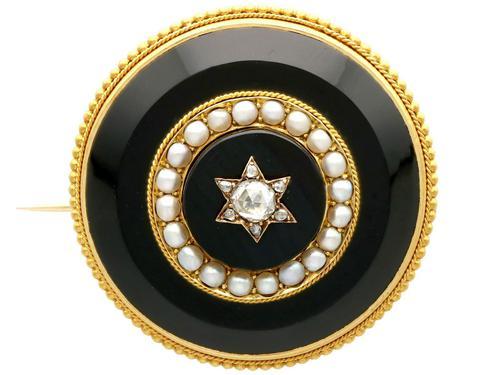 0.41ct Diamond, Pearl & Black Onyx, 18ct Yellow Gold Brooch c.1890 (1 of 9)