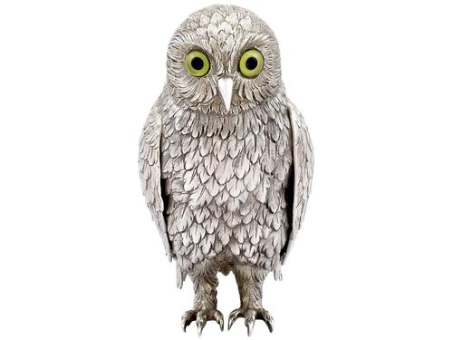 German Sterling Silver Table Owl - Antique c.1910 (1 of 12)