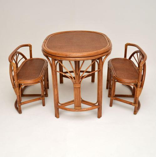 Vintage 1970's Bamboo & Rattan Games Table & Chairs (1 of 12)