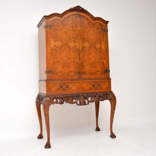 Antique Queen Anne Style Burr Walnut Cocktail Cabinet (1 of 11)