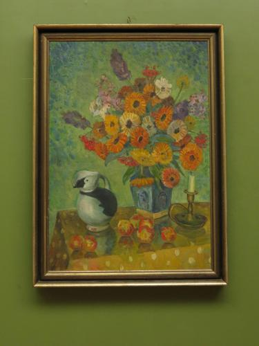 Large Framed Nordic Oil on Canvas Painting of Still Life Flowers & Puffin Jug (1 of 9)