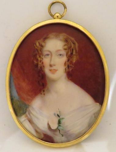 Miniature Portrait Late Georgian lady Oval Easel Back Frame (1 of 4)