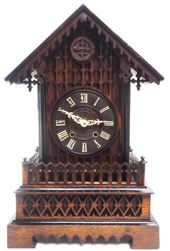 Rare Gallery Cuckoo Mantel Clock – German Black Forest Carved Bracket Clock (1 of 13)