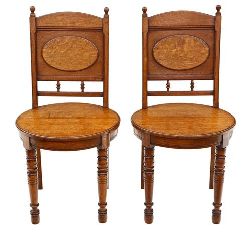 Pair of Oak Hall Side or Bedroom Chairs c.1880 (1 of 6)