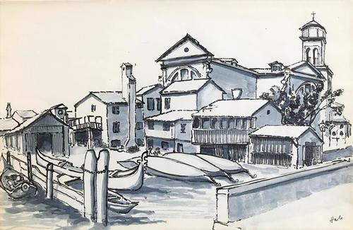 Original watercolour 'Gondola repair dock, Venice' by Helen Hale. ROI. B.1936 Signed. circa 1965. (1 of 1)