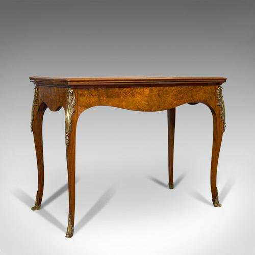 Antique Card Table, French, Burr Walnut, Fold Over, Games, Victorian c.1870 (1 of 12)