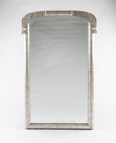 French Art Deco Silvered Overmantle Mirror (1 of 6)