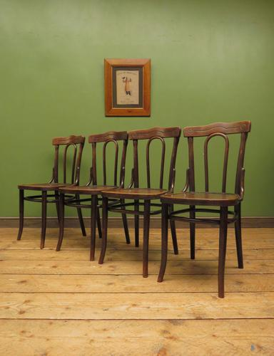 Four Antique Polish Thonet Style Bentwood Bistro Chairs with Pressed Seats (1 of 22)
