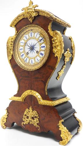 Antique French Burr Walnut & Ormolu 8-Day Mantel Clock Rococo Boulle Case Segment Dial (1 of 11)