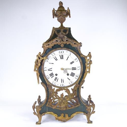 Large 19th Century French Green Painted Wood and Brass 8-day Mantel Clock (1 of 3)