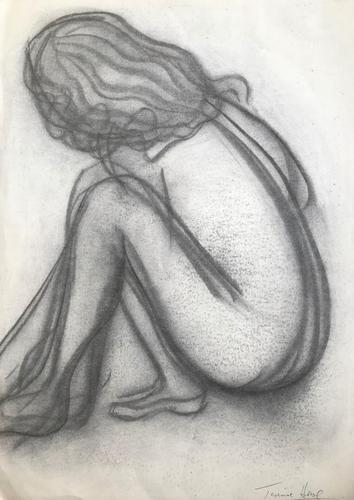 Original black chalk drawing 'Seated nude' by Terrance Howe (1 of 1)