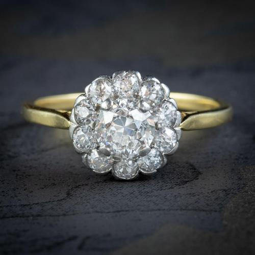 Antique Edwardian Old Cut Diamond Cluster Ring 18ct Gold 1.65ct Of Diamond Circa 1901 (1 of 6)