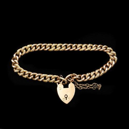 Antique Heart Padlock Fancy Curb 9ct 9K Gold Bracelet (1 of 9)
