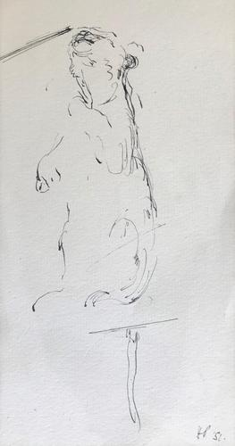 Original Pen & Ink Drawing 'Sketch for a Circus Painting' by Helmut Petzsch - Initialled & Dated 51 (1 of 1)