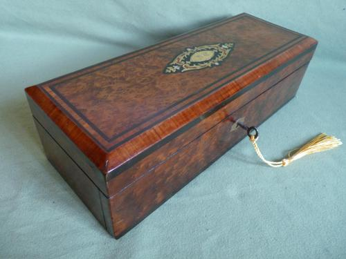 French Inlaid Amboyna Glove / Desk Box c.1870 (1 of 10)