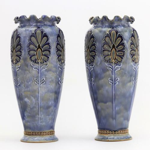 Pair of Royal Doulton Stoneware Art Nouveau Vases by Eliza Simmance c1903 (1 of 11)