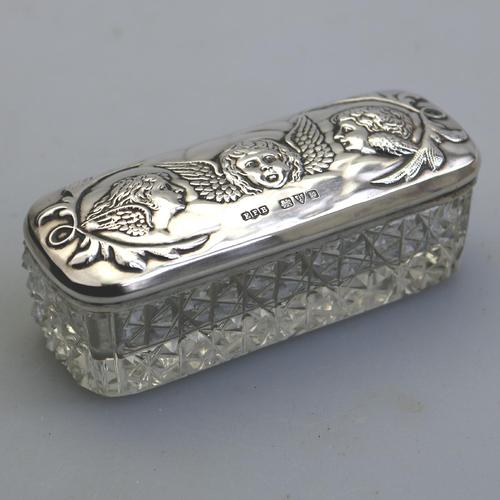 A Solid Silver & Cut Glass Jar - Reynolds Angels Chester 1905 (1 of 5)