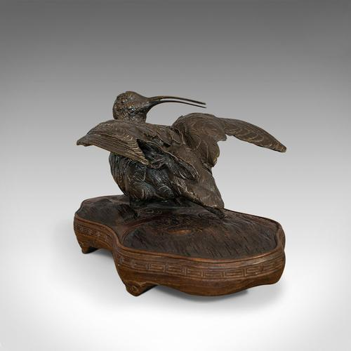 Antique, Curlew, Oriental, Bronze, Mahogany, Decorative, Small Bird c.1900 (1 of 12)