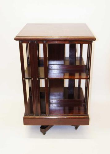 Good quality,  Edwardian inlaid Walnut 2 tier revolving bookcase (1 of 21)