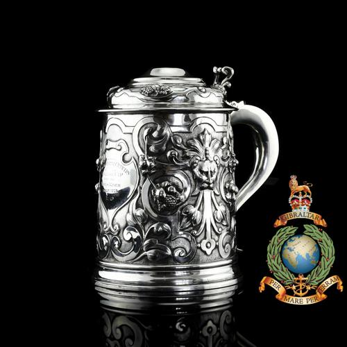 Antique Solid Sterling Silver Large Tankard with Royal Marines Officer Interest - Goldsmiths & Silversmiths Co 1900 (1 of 28)