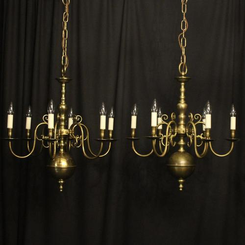 English Pair of 6 Light Antique Chandeliers (1 of 10)