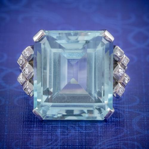 Art Deco Aquamarine Diamond Ring Platinum 25ct Emerald Cut Aqua c 1930 (1 of 5)